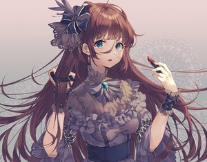 Rating: Safe Score: 29 Tags: breasts brown_hair goth-loli green_eyes kinty lolita_fashion long_hair original wristwear User: RyuZU