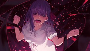 Rating: Safe Score: 90 Tags: dark dress fate_(series) fate/stay_night junkbox long_hair matou_sakura petals purple purple_eyes purple_hair ribbons User: RyuZU