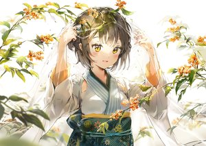 Rating: Safe Score: 116 Tags: anmi brown_hair cropped flowers japanese_clothes kimono original scan short_hair yellow_eyes User: Nepcoheart