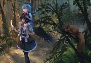 Rating: Safe Score: 58 Tags: 2girls animal apple barefoot bird cirno fairy food forest fruit loli pointed_ears roke_(taikodon) shameimaru_aya touhou tree wings User: BattlequeenYume