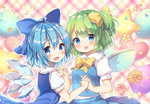 Rating: Safe Score: 36 Tags: 2girls aqua_eyes aqua_hair blush bow cirno daiyousei dress fairy flowers green_hair petals pjrmhm_coa ponytail short_hair touhou waifu2x wings User: otaku_emmy