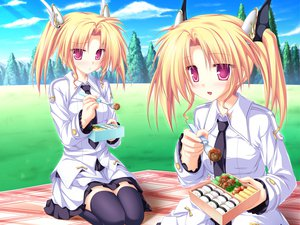 Rating: Safe Score: 16 Tags: blonde_hair food game_cg grass magus_tale nina_geminis rena_geminis school_uniform sky tenmaso thighhighs tree twins twintails whirlpool User: Oyashiro-sama