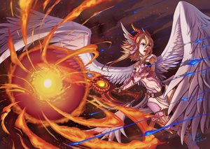 Rating: Safe Score: 58 Tags: armor blonde_hair blue_eyes fire ho-oh_(artist) horns long_hair minerva_(p&d) puzzle_&_dragons wings User: FormX