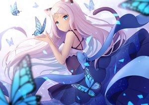 Rating: Safe Score: 97 Tags: animal_ears aqua_eyes bow butterfly catgirl dress gradient headdress hio_(hiohio0306) long_hair original ribbons tail white_hair User: otaku_emmy