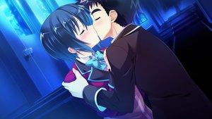 Rating: Safe Score: 19 Tags: baka_moe_heart_ni_ai_wo_komete! black_hair blue blush bow game_cg hug kaneshiro_ai kiss male night praline riv school_uniform short_hair stairs yamanaka_shoutarou User: birdy73