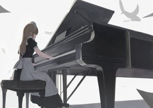 Rating: Safe Score: 41 Tags: apron blonde_hair instrument long_hair maid original piano shii_(kairi-t-k0317) User: sadodere-chan