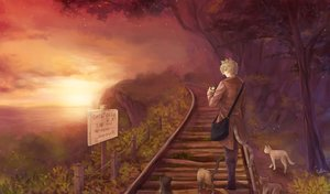 Rating: Safe Score: 47 Tags: all_male animal animal_ears blonde_hair cat catboy forest male original penguin-pinpin scenic short_hair sunset tail train tree User: BattlequeenYume