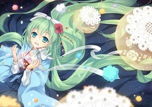 Rating: Safe Score: 96 Tags: aqua_eyes bow candy ceru green_hair hatsune_miku japanese_clothes kimono long_hair ribbons vocaloid User: Flandre93