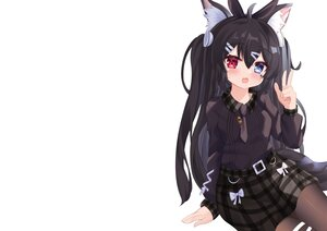 Rating: Safe Score: 46 Tags: bicolored_eyes black_hair blush bow cat_smile fang headband hiyada_yuu long_hair necklace original pantyhose skirt tail tie twintails white User: otaku_emmy