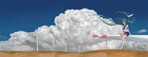 Rating: Safe Score: 40 Tags: aqua_hair clouds hatsune_miku kneehighs long_hair scenic seifuku sky sombernight twintails vocaloid windmill User: humanpinka