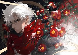 Rating: Safe Score: 33 Tags: all_male cape emiya_kiritsugu fate/grand_order fate_(series) flowers hoodie male seomouse short_hair snow white_hair yellow_eyes User: otaku_emmy