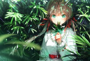 Rating: Safe Score: 106 Tags: brown_hair dress dsmile green_eyes leaves long_hair original ribbons scan twintails User: Nepcoheart