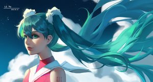 Rating: Safe Score: 21 Tags: close cropped hatsune_miku long_hair realistic tagme_(artist) twintails vocaloid watermark User: sadodere-chan
