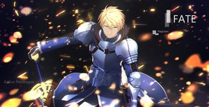Rating: Safe Score: 22 Tags: all_male aqua_eyes armor arthur_pendragon_(fate) blonde_hair fate/grand_order fate_(series) gloves magicians male short_hair sword weapon User: RyuZU