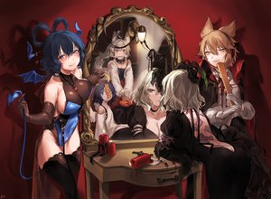 Rating: Safe Score: 115 Tags: angel animal_ears ass blonde_hair blood blue_eyes blue_hair blush bodysuit breasts cape choker cleavage collar cosplay cross doggirl fang garter_belt gloves gothic gray_hair green_eyes group halloween halo headphones kaku_seiga mirror miyako_yoshika mononobe_no_futo necklace ofuda red reflection ribbons shan short_hair sideboob signed soga_no_tojiko stockings tail thighhighs touhou toyosatomimi_no_miko vampire wings yellow_eyes User: otaku_emmy