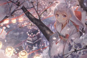 Rating: Safe Score: 96 Tags: blue_eyes blush cherry_blossoms fan festival flowers group hoodie japanese_clothes kimono long_hair mask original oyuyu shrine tree wedding_attire white_hair User: BattlequeenYume