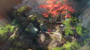 Rating: Safe Score: 75 Tags: landscape long_hair original scenic stairs tree volvox819 User: BattlequeenYume