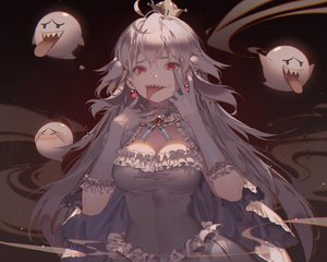 Rating: Safe Score: 80 Tags: boo breasts cleavage crown dress elbow_gloves gloves kawacy long_hair luigi's_mansion princess_king_boo red_eyes super_mario_bros watermark white_hair User: luckyluna