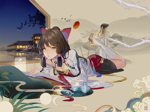 Rating: Safe Score: 56 Tags: book brown_hair building drink gray_eyes hakurei_reimu japanese_clothes kneehighs long_hair maiwetea night reflection sky stars touhou water User: BattlequeenYume