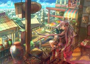 Rating: Safe Score: 334 Tags: barefoot building candy city clouds food fuji_choko ice_cream japanese_clothes kimono long_hair mask original pink_eyes pink_hair sky User: Kunimura