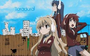 Rating: Safe Score: 30 Tags: aisaka_taiga headphones kawashima_ami kushieda_minori school_uniform toradora User: Karoola