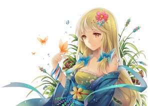 Rating: Safe Score: 171 Tags: blonde_hair bow breasts butterfly cleavage flowers green_hair japanese_clothes long_hair original ribbons tidsean yellow_eyes User: Flandre93