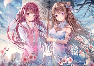 Rating: Safe Score: 234 Tags: 2girls blush braids breasts brown_hair building chinese_clothes chinese_dress cleavage clouds flowers long_hair original purple_eyes purple_hair scan sky sousouman umbrella User: BattlequeenYume