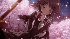 Rating: Safe Score: 28 Tags: aoi_tori aqua_eyes braids brown_hair cherry_blossoms flowers game_cg koku night petals purple_software short_hair umino_akari User: RyuZU