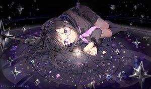Rating: Safe Score: 326 Tags: anmi black_hair bow glasses headband kneehighs long_hair original purple_eyes school_uniform skirt stars User: RyuZU