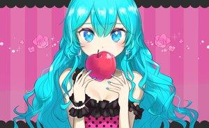 Rating: Safe Score: 23 Tags: apple aqua_eyes aqua_hair close food fruit hatsune_miku hyokko_(hiyotuko) long_hair pink romeo_and_cinderella_(vocaloid) vocaloid waifu2x wristwear User: mattiasc02