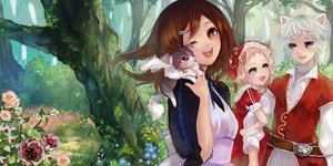Rating: Safe Score: 78 Tags: animal animal_ears brown_hair cat dress flowers forest original pisuke tree wink User: opai