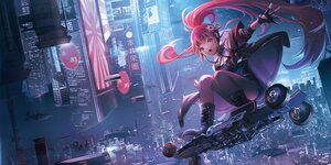 Rating: Safe Score: 68 Tags: aircraft boots building city gloves long_hair night o-sd! ponytail red_eyes red_hair User: BattlequeenYume