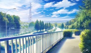 Rating: Safe Score: 41 Tags: building city clouds nobody nzwt original scenic signed sky tree User: otaku_emmy