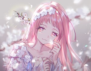 Rating: Safe Score: 33 Tags: cat_smile cherry_blossoms close flowers headdress lee_hyeseung long_hair original petals pink pink_eyes pink_hair polychromatic spring User: otaku_emmy