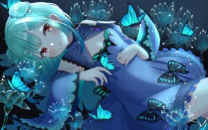 Rating: Safe Score: 33 Tags: blush butterfly dress flowers green_hair hololive nibosi polychromatic red_eyes uruha_rushia User: BattlequeenYume