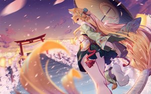 Rating: Safe Score: 97 Tags: animal_ears asa_ni_haru barefoot blonde_hair cherry_blossoms clouds flowers foxgirl izumi_(sdorica) japanese_clothes long_hair orange_eyes petals ponytail scenic sdorica_-sunset- sky socks stairs torii umbrella User: RyuZU