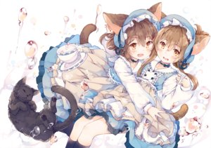 Rating: Safe Score: 62 Tags: 2girls animal animal_ears anthropomorphism blush brown_eyes brown_hair bubbles cat catgirl dress fang headdress hug ikazuchi_(kancolle) inazuma_(kancolle) kantai_collection kneehighs lolita_fashion long_hair short_hair tagme_(artist) tail yellow_eyes User: BattlequeenYume
