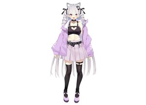 Rating: Safe Score: 68 Tags: animal_ears blush bow breasts catgirl cleavage collar fang garter gray_hair hourei_tenten long_hair matsui_hiroaki melty+ navel purple_eyes ribbons skirt thighhighs twintails white zettai_ryouiki User: otaku_emmy