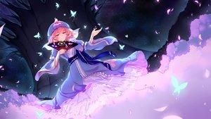 Rating: Safe Score: 52 Tags: bow butterfly dress hat japanese_clothes night petals pink_eyes pink_hair ribbons saigyouji_yuyuko short_hair stars touhou tree wukloo User: RyuZU