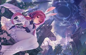 Rating: Safe Score: 104 Tags: animal_ears blush bunny_ears clouds daefny dress flowers magic pantyhose purple_eyes purple_hair rose ruins signed sky twintails wings User: BattlequeenYume