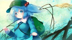 Rating: Safe Score: 27 Tags: aqua_eyes aqua_hair blush gengetsu_chihiro hat kawashiro_nitori long_hair skirt skirt_lift touhou User: RyuZU