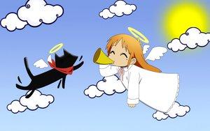 Rating: Safe Score: 44 Tags: angel animal cat hakase_(nichijou) nichijou sakamoto_(nichijou) sky wings User: Mazinger