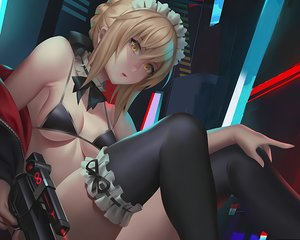 Rating: Safe Score: 44 Tags: artoria_pendragon_(all) bikini blonde_hair choker cropped fate/grand_order fate_(series) gun headdress maid saber saber_alter short_hair swimsuit thighhighs tie unfairr waifu2x weapon yellow_eyes User: mattiasc02