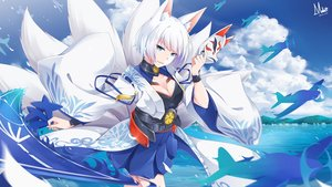 Rating: Safe Score: 124 Tags: aircraft animal_ears anthropomorphism aqua_eyes azur_lane breasts cleavage clouds foxgirl japanese_clothes kaga_(azur_lane) masabodo mask multiple_tails short_hair sky tail water watermark white_hair User: RyuZU