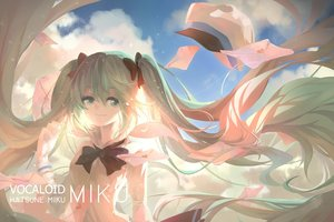 Rating: Safe Score: 62 Tags: aqua_eyes aqua_hair bow clouds hatsune_miku jpeg_artifacts long_hair paper tania.o twintails vocaloid User: Flandre93