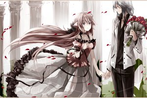 Rating: Safe Score: 124 Tags: animal_ears bow dress flowers gray_hair pink_hair ribbons User: LastZephyr