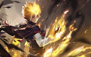 Rating: Safe Score: 52 Tags: all_male blonde_hair cape fire giotto gloves katekyou_hitman_reborn male oop short_hair User: RyuZU