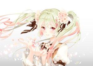 Rating: Safe Score: 96 Tags: bow cherry_blossoms flowers green_hair hatsune_miku long_hair platina77 red_eyes sakura_miku twintails vocaloid white User: humanpinka