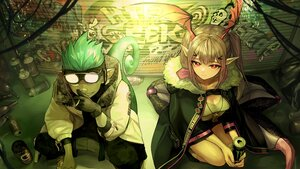 Rating: Safe Score: 13 Tags: aqua_hair arknights drink ethan_(arknights) gloves goggles ink. long_hair male manticore_(arknights) pink_eyes pink_hair pointed_ears smoking tail twintails User: Nepcoheart