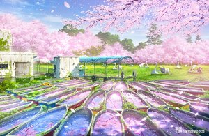 Rating: Safe Score: 55 Tags: boat cherry_blossoms flowers original petals ruins scenic tokyogenso watermark User: FormX